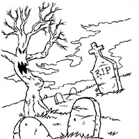 spooky graveyard coloring page