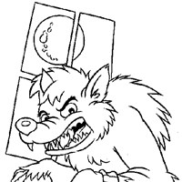 werewolf full moon coloring page