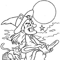 witch on broomstick coloring page