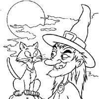 witch with cat coloring page