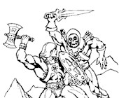 he man fighting skeletor coloring page