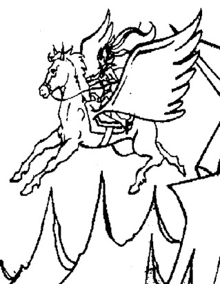 he man flying horse coloring page
