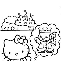 hello kitty castle coloring page