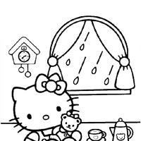 hello kitty playing coloring page