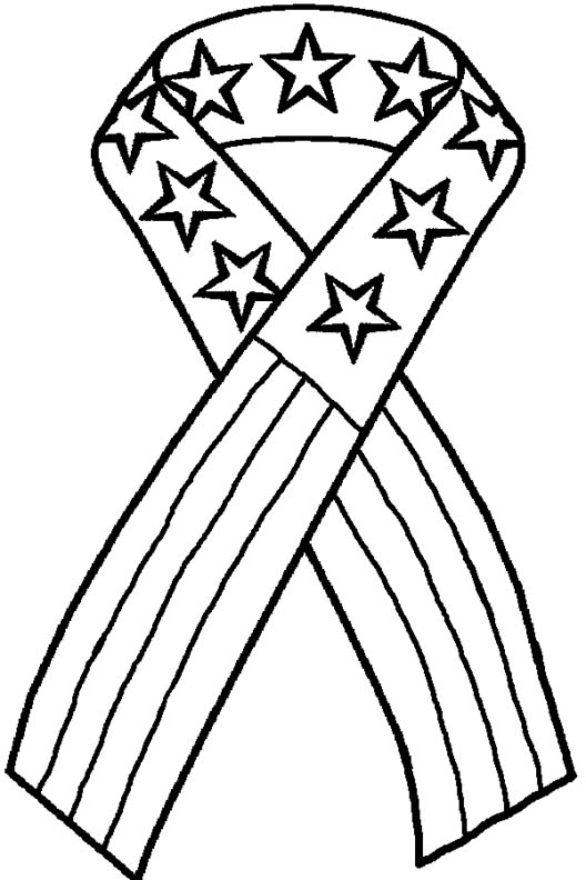 4th of july patriotic ribbon coloring page