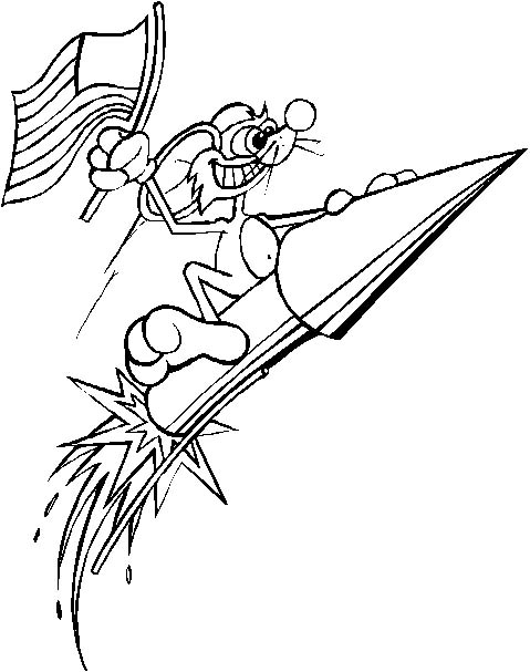 4th of july rocket fireworks coloring page