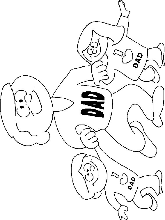 kids and dad coloring page