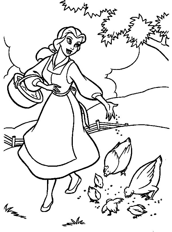 coloring princess beauty beast belle coloring page