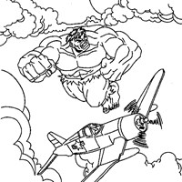 hulk flying coloring page