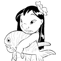 lilo with fish coloring page