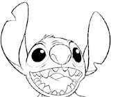 stitch laughing coloring page