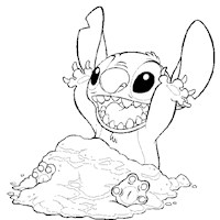 stitch playing in sand coloring page
