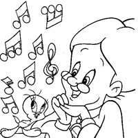 singing tweety coloring page