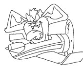 taz airplane coloring page