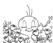 tweety and roses coloring page
