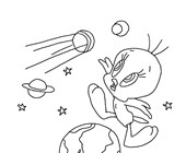 tweety in space coloring page