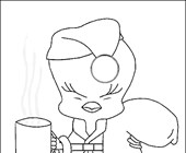 tweety with coffee coloring page