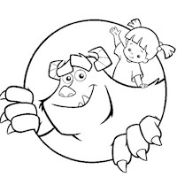 sulley and boo coloring page