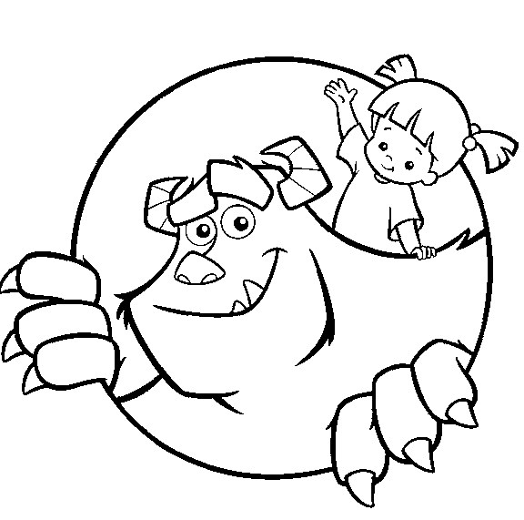 Monsters Inc Coloring Page - sulley and boo | All Kids Network