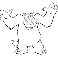sulley scaring coloring page