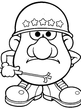 Mr Potatohead Coloring Page Army Potato Head All Kids
