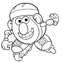 mr potato head skating coloring page