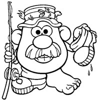 potato head fishing coloring page
