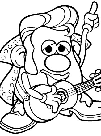 Mr Potatohead Coloring Page Rock Potato Head All Kids
