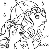 little pony in rain coloring page
