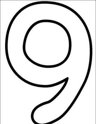 numbers 9 coloring page