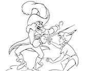 hook fights peter coloring page