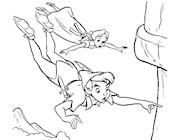 peter pan flying with jane coloring page