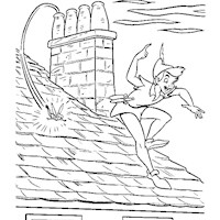 peter pan rooftop coloring page
