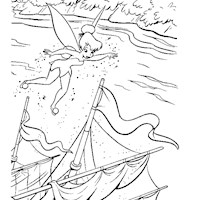 tinkerbell over boat coloring page