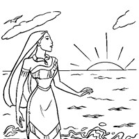 pocahontas on beach coloring page