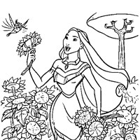 pocahontas with nature coloring page