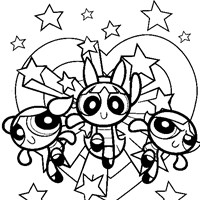 color power puff girls coloring page
