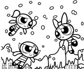 power puff girls snow coloring page