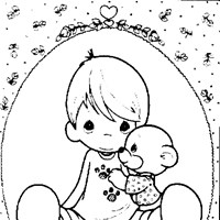 boy and bear coloring page