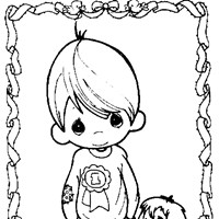 boy and dog coloring page