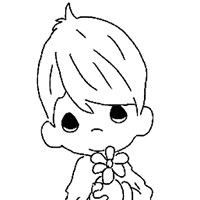 boy with flower coloring page