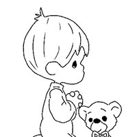 boy with teddy bear coloring page