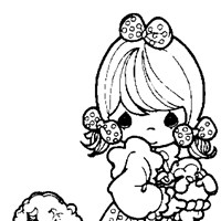 girl and lamb coloring page