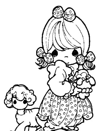 Precious Moments Coloring Page Girl And Lamb All Kids