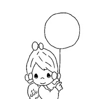 girl with balloon coloring page