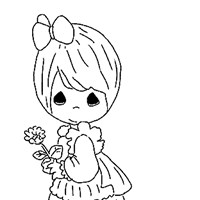 girl with flower coloring page