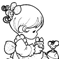 girl with presents coloring page