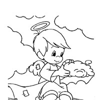precious moments boy angel coloring page