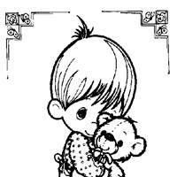 precious moments boy with teddy bear coloring page
