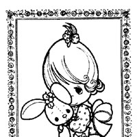 precious moments girl with doll coloring page